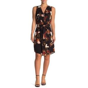 New 14th & Union Sleeveless Floral Front Tie Dress